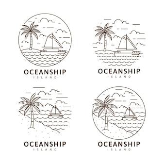 섬 및 범선 그림 모노 라인 또는 라인 아트 스타일 벡터 디자인 세트
