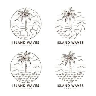 섬과 파도 그림 모노 라인 또는 라인 아트 스타일 벡터 디자인 세트