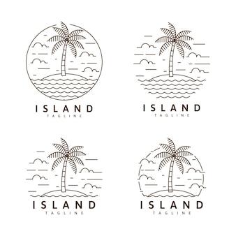 섬 그림 monoline 또는 라인 아트 스타일 벡터 디자인 세트