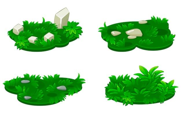 Набор острова травы с камнями. Premium векторы