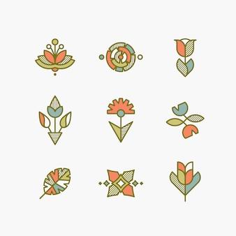 孤立した抽象的な花や植物のセットです。装飾的なデザイン要素。
