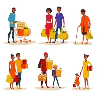 쇼핑몰에서 고립 된 아프리카 계 미국인 가족의 세트