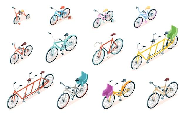 아이 또는 어린이 성인 및 어린이 바퀴를위한 삼중 자전거 및 세발 자전거 타기를위한 격리 된 자전거 세트