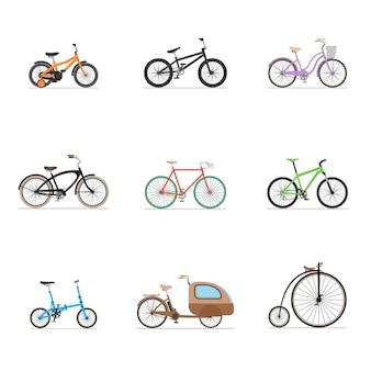 흰색 배경에 고립 된 자전거의 집합입니다.