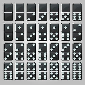 ゲームのための孤立した黒の古典的なドミノのセット。シンプルなドミノチップのコレクション。