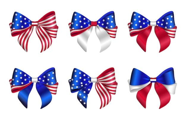 미국 국기 색으로 고립 된 활의 집합입니다. 미국 활.