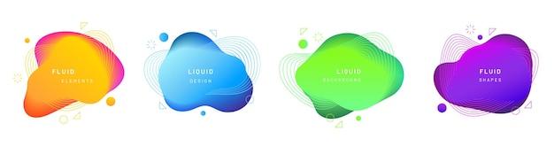 격리 된 밝은 노란색, 그라데이션 파란색, 녹색 및 보라색 액체 방울의 집합입니다. 추상적 인 기하학적 액체 얼룩 또는 동적 색상으로 브러시 얼룩.