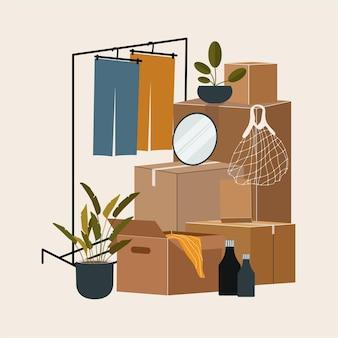 Набор изолированных картонных коробок для переезда