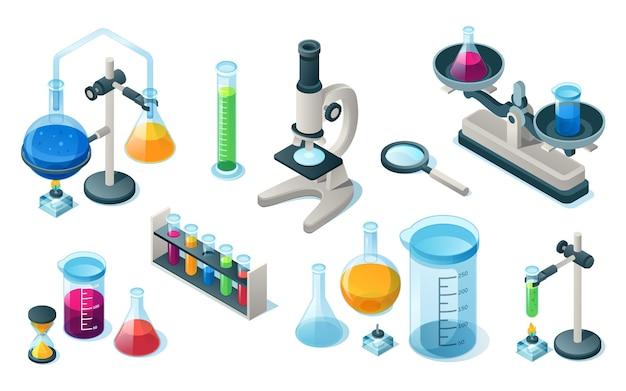 격리 된 화학 또는 의료 실험실 장비 세트. 과학 또는 학교 실험실을위한 의학 또는 화학 품목. 파이프 및 현미경, 모래 시계 및 돋보기, 튜브가있는 플라스크. 생물학, 약학