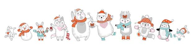 孤立したクリスマスキャラクターのクマ、ウサギ、ユニコーン、鹿、ペンギン、雪だるまのセットです。カラフルなイラストをベクトルします。