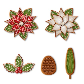Набор изолированных рождественского печенья. имбирный пряник пуансеттия, шишка, падуб и ветка сосны