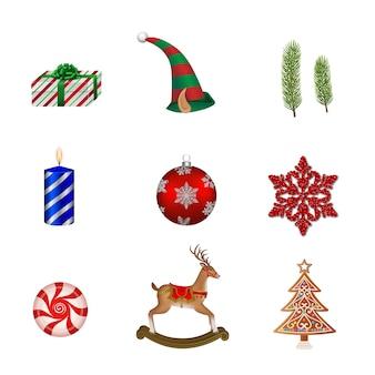 孤立したクリスマス要素のセット