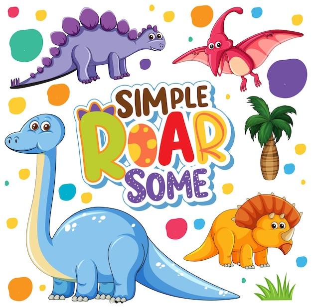 孤立したかわいい恐竜の漫画のキャラクターのセット 無料ベクター