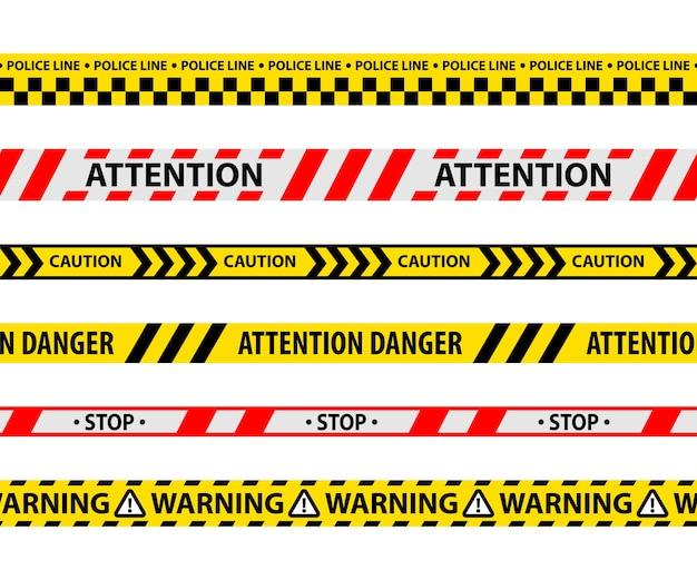 孤立した危険テープまたは黄色いリボンのセット