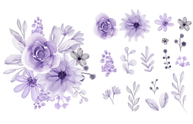 Набор изолированных цветочных листьев цветок фиолетовый мягкая акварель