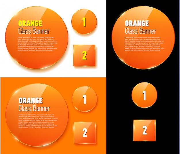 孤立したガラスオレンジsのセット