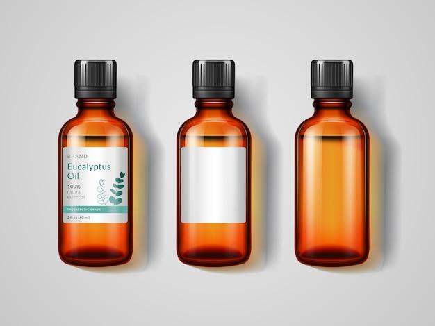 Набор изолированных стеклянных бутылок с эвкалиптовым маслом