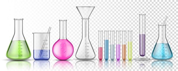 투명 한 배경에 화학에 대 한 격리 된 유리 플라스 크 또는 유리 병의 집합입니다.