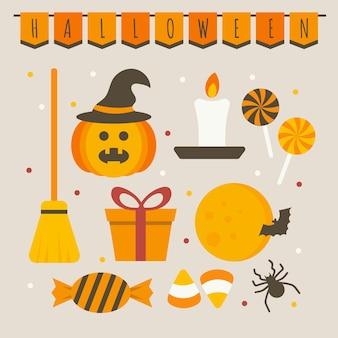 Набор изолированных значок хэллоуина