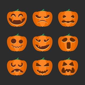 Набор изолированных значок тыквы хэллоуина