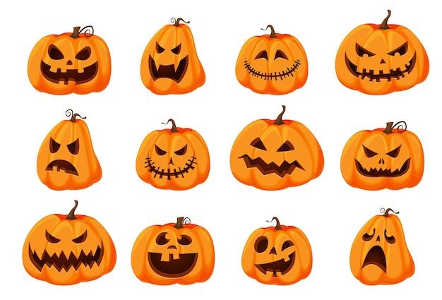 Набор изолированных тыкв хэллоуина. оранжевая тыква с разными видами улыбок на праздник хэллоуина. векторная иллюстрация