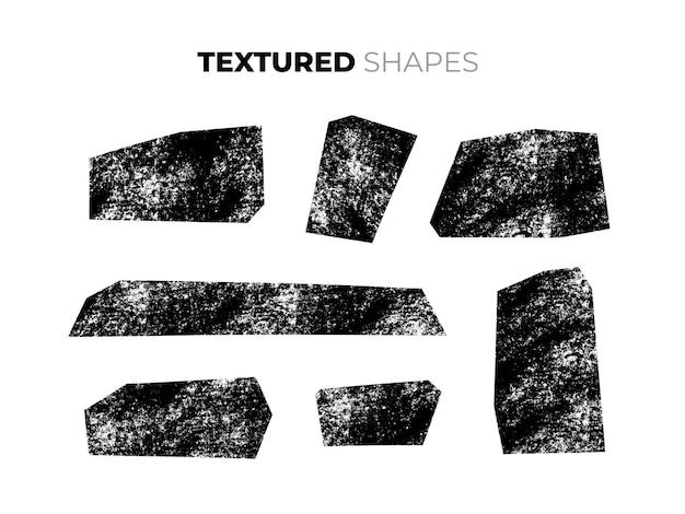 孤立した手描きの乾いたブラシのテクスチャ形状のセット