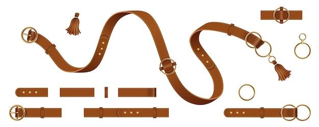 Набор изолированных мужских и женских кожаных или кожаных ремней с пряжкой, кисточкой-цепочкой и металлическим кольцом