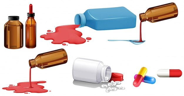 瓶の中の孤立した薬のセット