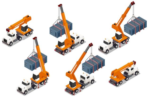Набор изолированных изометрических элементов модульного каркасного здания с изображениями грузовиков с кранами и контейнерами