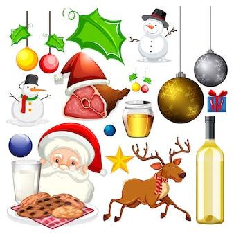 Набор изолированных объектов рождественской темы