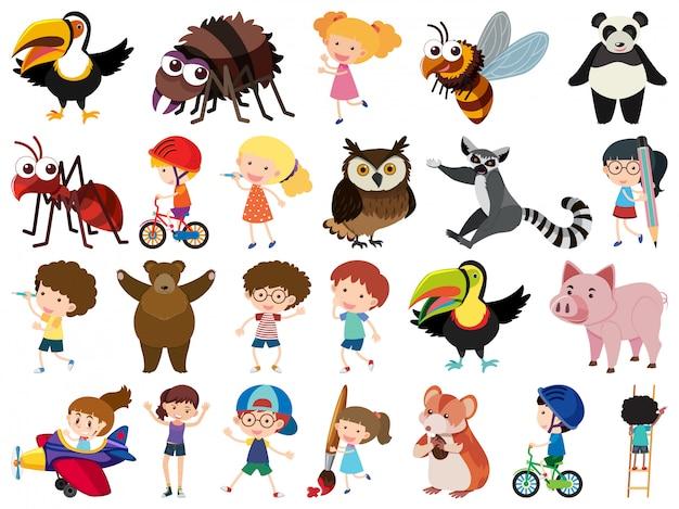 孤立したオブジェクトのテーマの子供と動物のセット
