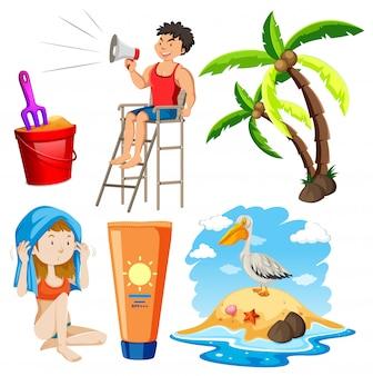 Набор изолированных объектов тема летнего отдыха