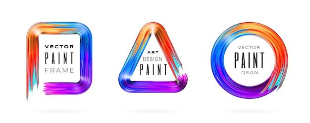 テキストと分離ペイントブラシストロークフレームのセットです。ブラシストロークで描かれた幾何学的な境界線。長方形、三角形、円のペイントスミア。広告、バナー、チラシ、ポスターの背景デザイン