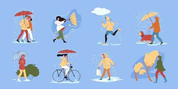 Набор изолированных людей, идущих под зонтиком, с людьми под дождевым душем в теплой одежде