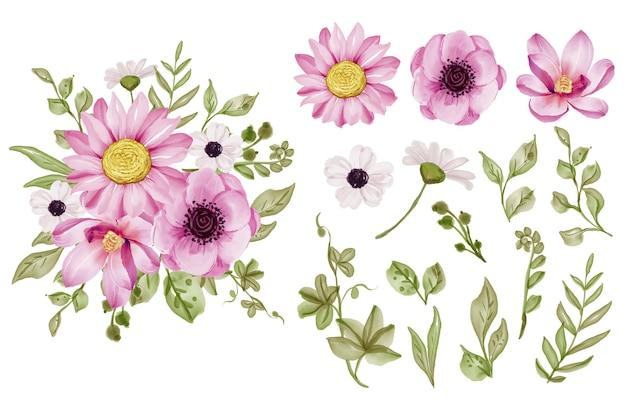 孤立したピンクの花と緑の葉の水彩画のセット