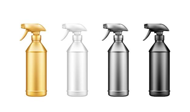 分離されたプラスチックスプレーピストルのセットは、白い背景で分離されたボトルのモックアップを消毒します。