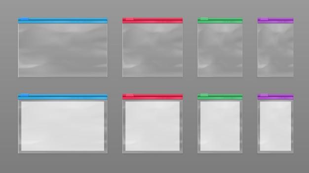 격리 된 폴리머 백 또는 지퍼 잠금 장치가있는 밀봉 된 팩 세트. 지퍼가 달린 폴리에틸렌 투명 향 주머니의 현실적인 벡터 모형. 식품 포장 및 소매 용 지퍼가 달린 빈 파우치. 패키지 또는 패킷