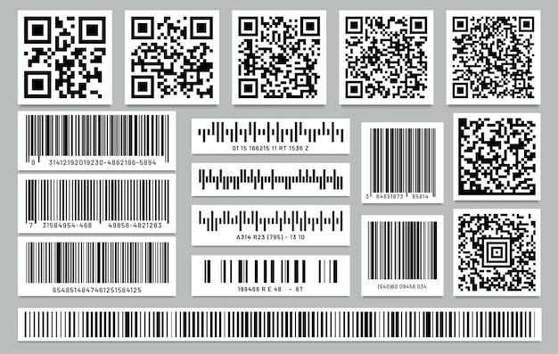 격리 된 사각형 바코드 및 사각형 qr 코드 집합입니다. qrcode 및 바코드가있는 라벨 또는 스티커.