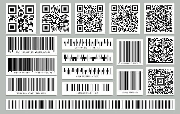 分離された長方形のバーコードと正方形のqrコードのセット。