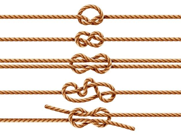 異なる結び目タイプの孤立したロープのセット。一重継ぎと止め結び、おばあちゃんと8の字結び、正方形または本結びのある航海用の糸または紐。 2本のロープが結び目またはホイップコードが絡み合っています。