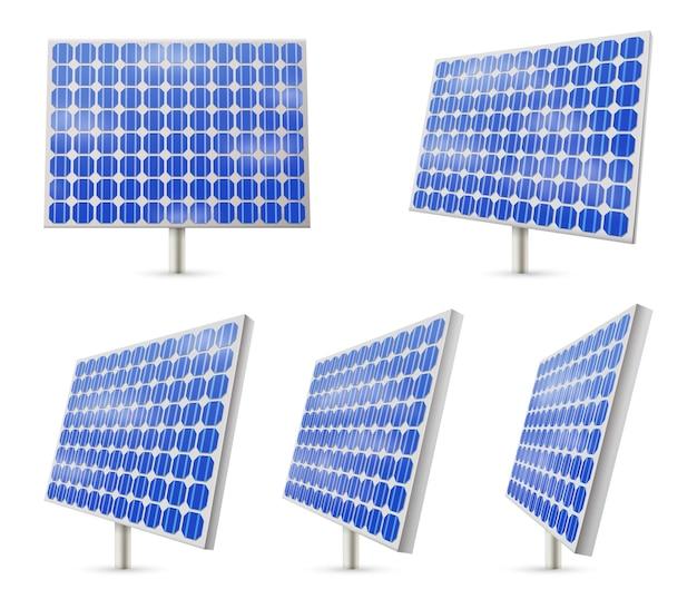 孤立したソーラーパネルまたは青いエネルギー資源の図のセット