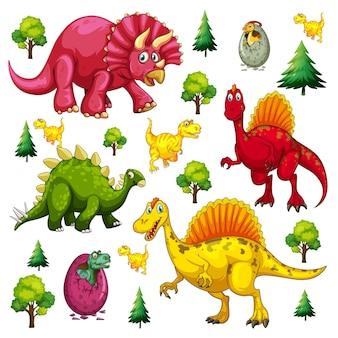 白い背景の上の孤立した様々な恐竜の漫画のキャラクターのセット
