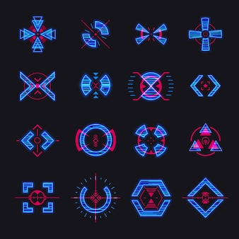 Набор изолированных векторных целей стрельбы из снайперского оружия, игровые футуристические элементы hud для