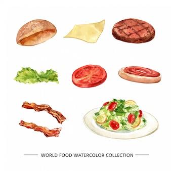孤立した水彩パン、チーズ、ステーキのイラストのセット