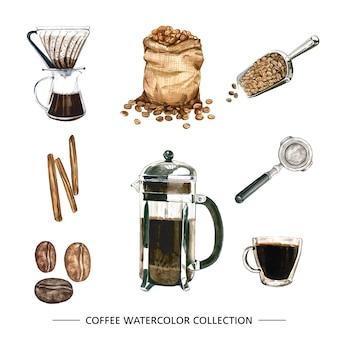 격리 된 수채화 커피 세트