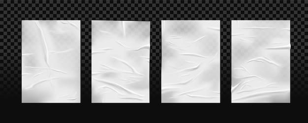 격리 된 흰색 붙어 주름 된 종이의 집합입니다. 구겨진 패치 조각 또는 긁힌 젖은 테이프. 사용 된 붕대 또는 거친 셀로 타프. 투명 한 바탕에 물으로 접착제에 현실적인 종이. 조직