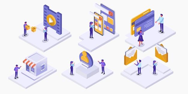 통계 마케팅 및 관리, 비즈니스 개념에서 직장에서 일하는 사람들의 아이소메트릭 세트