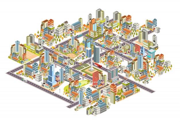 建物、通り、家など多くの等尺性3 d都市景観のセット。 3 dデザインイラスト