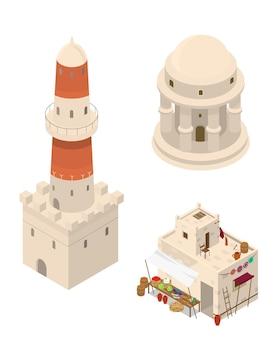 Набор изометрических арабских зданий. рынок, башня, ротонда. ближневосточная традиционная архитектура. строения из грязевого кирпича.