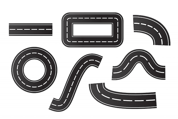 白い背景の等尺性アスファルト道路のセット。物流、旅、配送、輸送の概念。